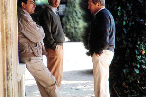 Robert Haas With Jean Pierre And Francois Perrin At Beaucastel c. 1985