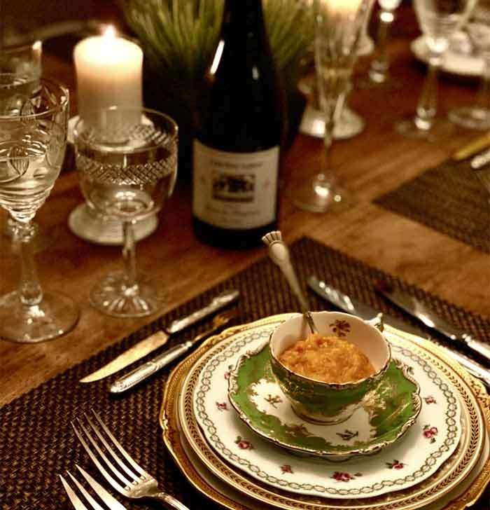 Food And Wine At Thanksgiving Table