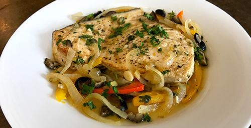 Image of Braised Tuna or Pacific Swordfish in Vermentino