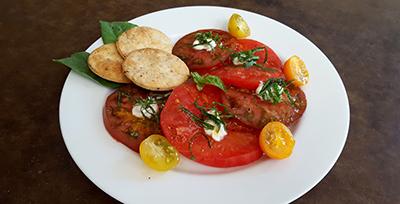 Image of Farmer's Market Tomato Salad with Orange Zest Crackers